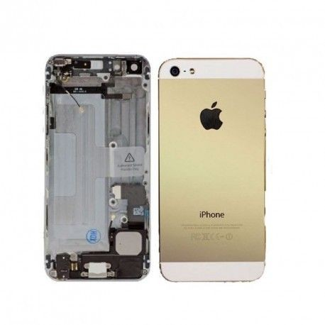 Carcasa Trasera + Chasis Central iPhone 5 Blanco/Oro Completo